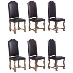 Set of Six Spanish Leather Dining Chairs