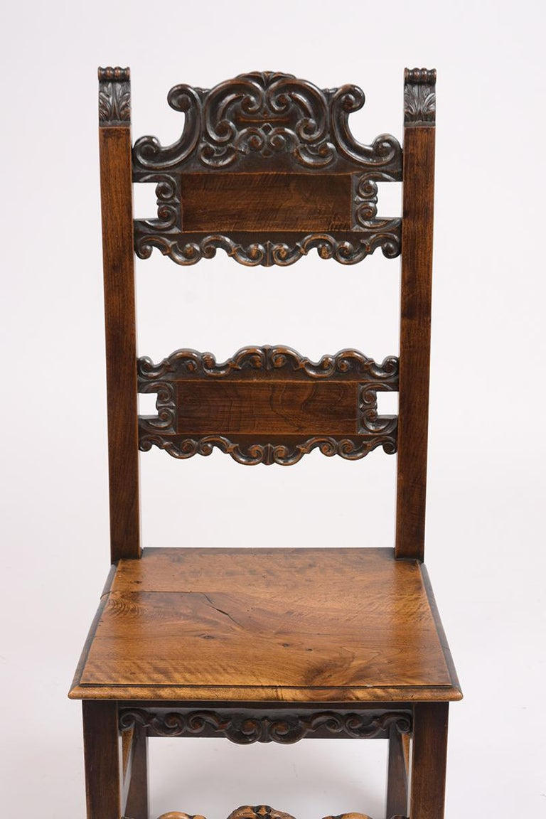 Spanish Colonial Set of Six Spanish Style Dining Chairs For Sale