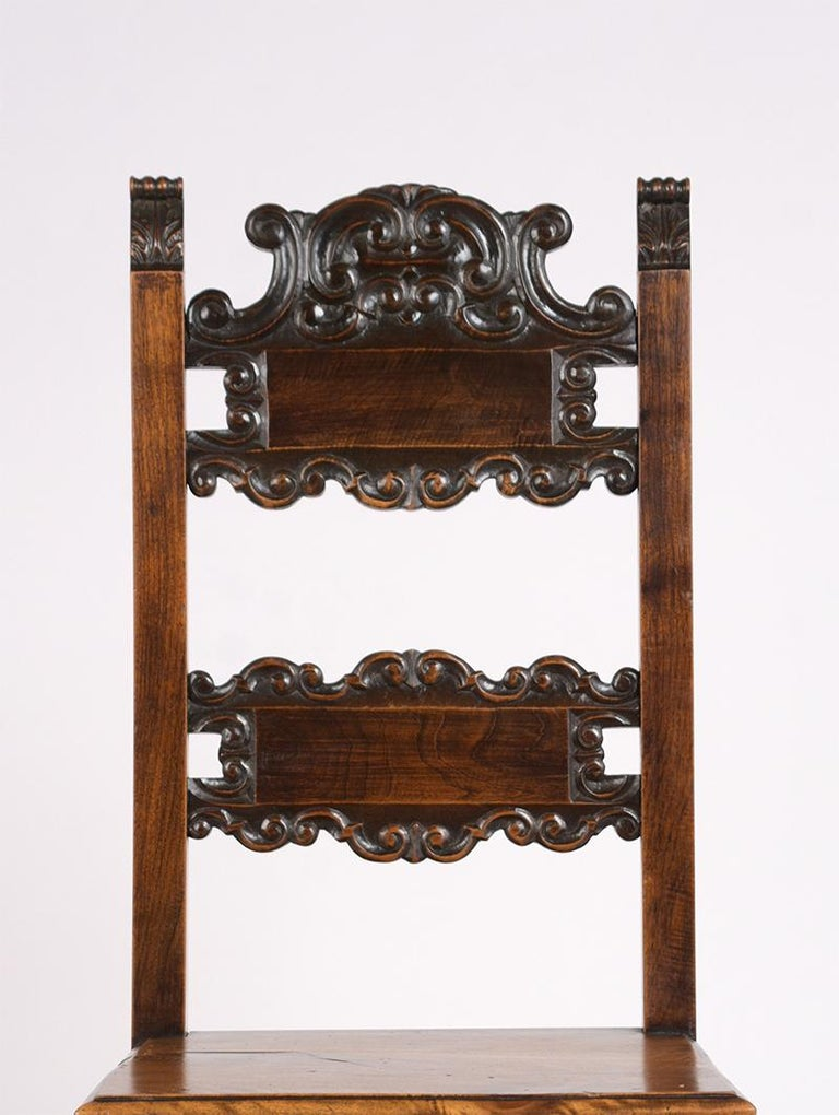 French Set of Six Spanish Style Dining Chairs For Sale