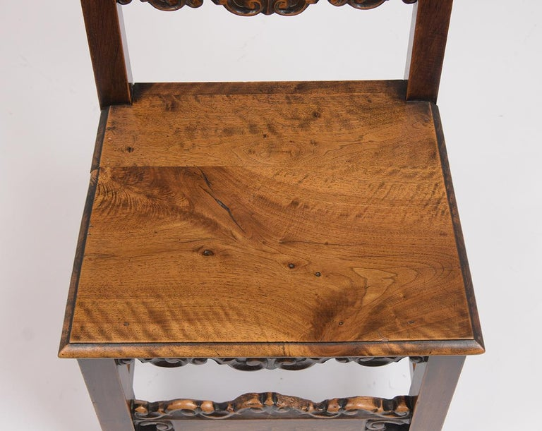 Carved Set of Six Spanish Style Dining Chairs For Sale