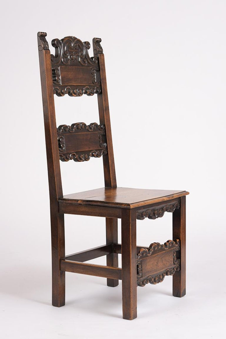 19th Century Set of Six Spanish Style Dining Chairs For Sale