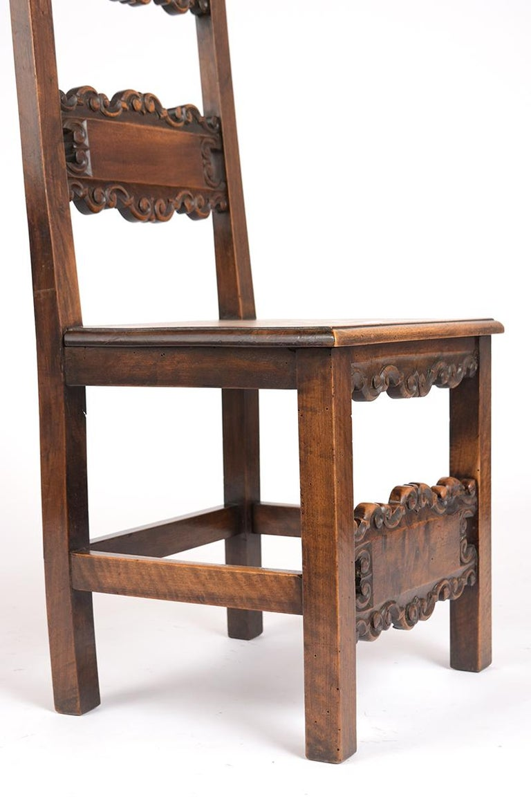 Wood Set of Six Spanish Style Dining Chairs For Sale