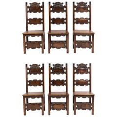 Set of Six Spanish Style Dining Chairs