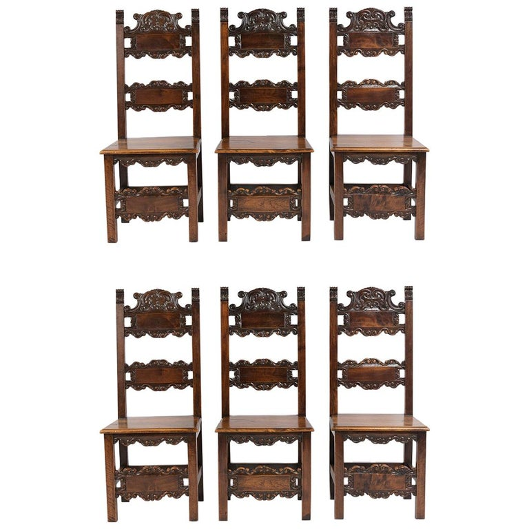 Set of Six Spanish Style Dining Chairs For Sale