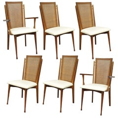 Set of Six Specialty Woodcraft Midcentury Danish Modern Cane Teak Dining Chairs