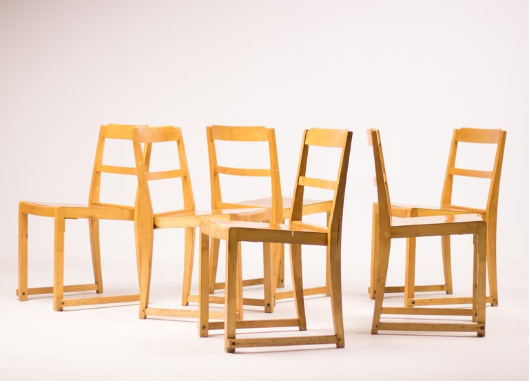 Set of Six Stacking Chairs by Sven Markelius For Sale 3