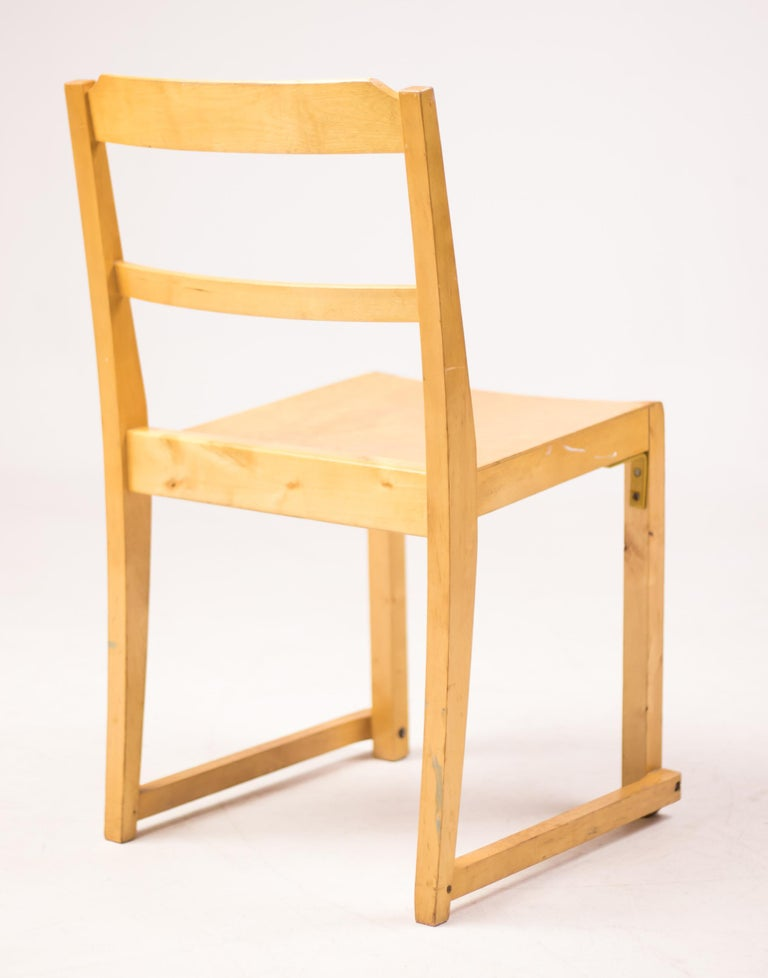 Six stacking chairs in birch designed by the Swedish architect Sven Markelius. Manufactured by Bodafors, designed for the Helsingborg Concert Hall in 1932. A landmark of Swedish architecture by Sven Markelius. Lightweight chairs, easily