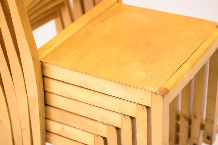 Swedish Set of Six Stacking Chairs by Sven Markelius For Sale