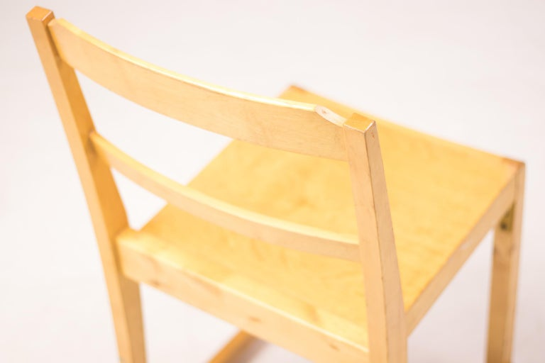 Birch Set of Six Stacking Chairs by Sven Markelius For Sale