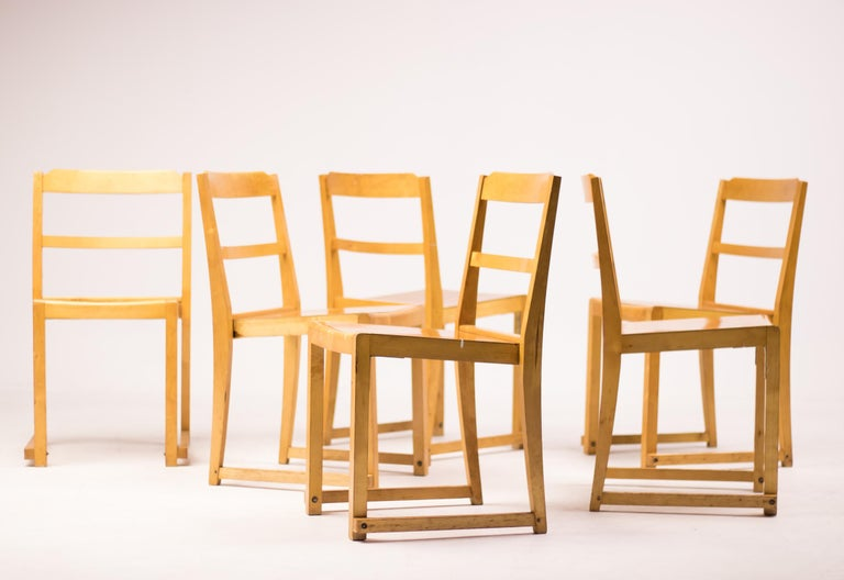 Set of Six Stacking Chairs by Sven Markelius For Sale 1