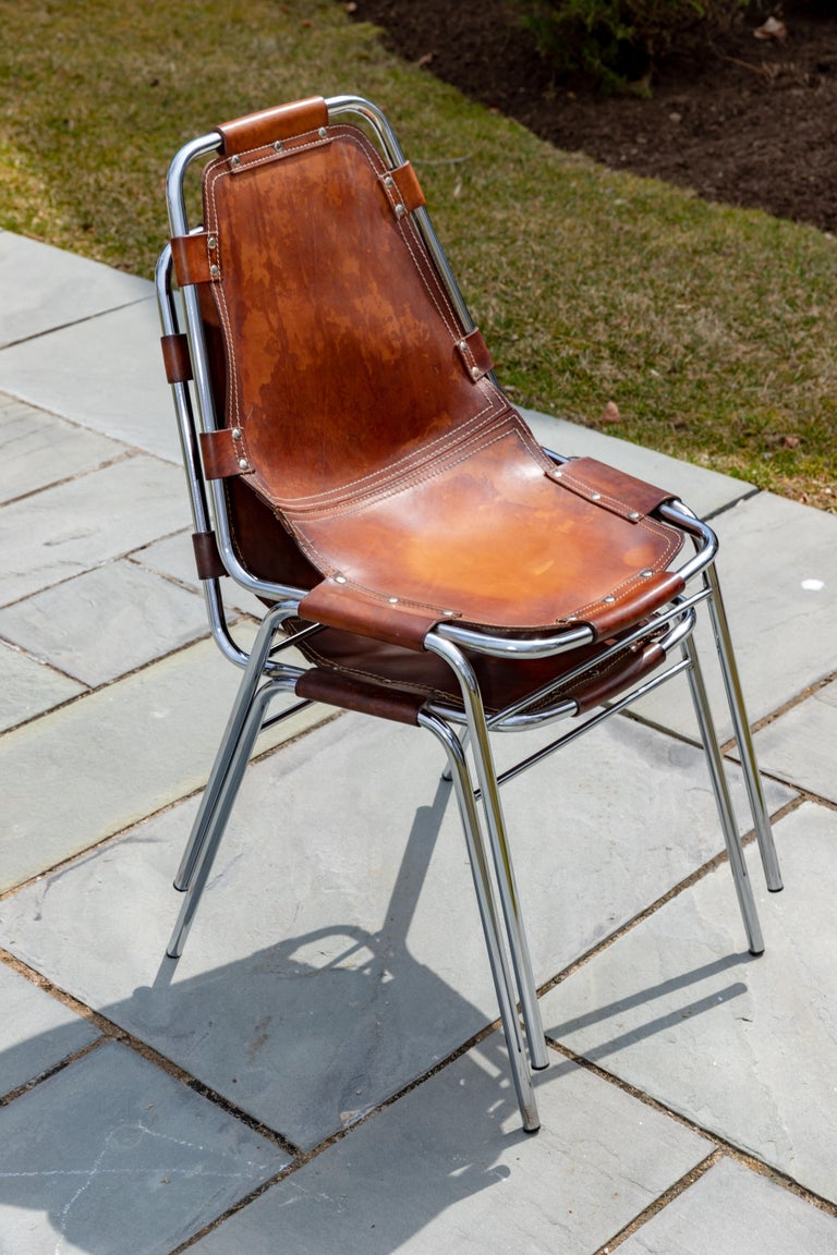 Mid-Century Modern Set of Six Stacking Leather and Chrome Chairs For Sale