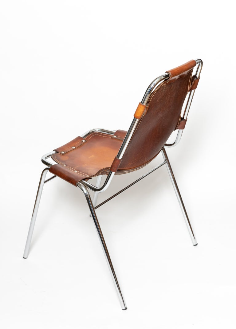 French Set of Six Stacking Leather and Chrome Chairs For Sale