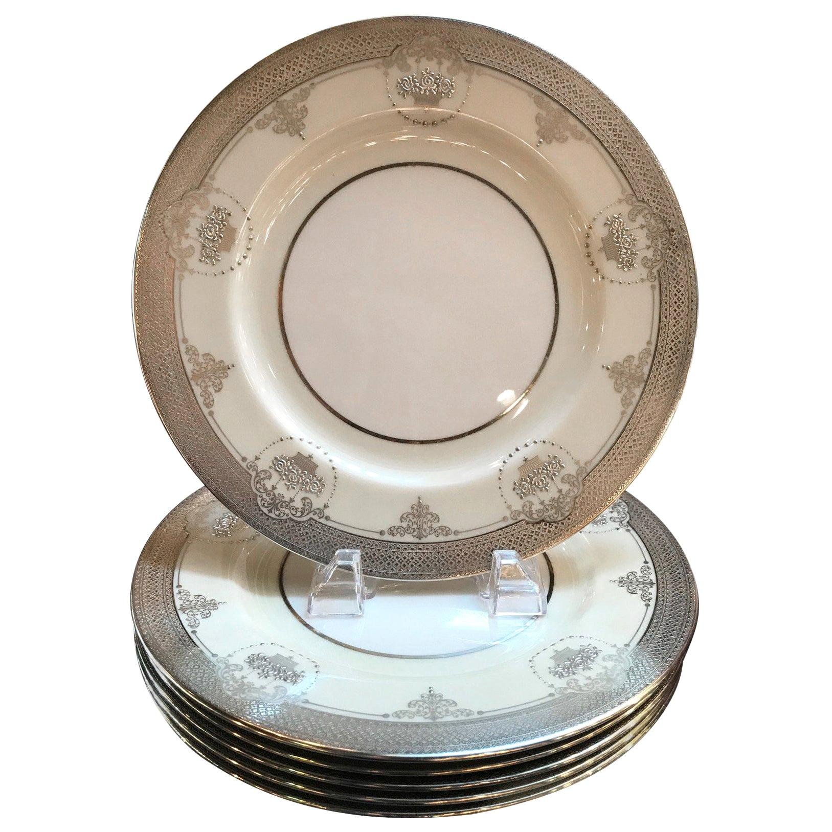 Set of Six Sterling Silver Overlay Service Dinner Plates