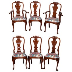 Set of Six Stickley Queen Anne Carved Mahogany Dining Chairs, circa 1987
