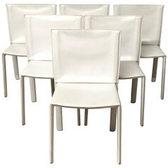 Set of Six Stitched Leather Dining Chairs by Grazzi and Bianchi for Pellizzoni