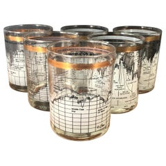 Set of Six Stock Market / Wall Street / Dow Jones / Cocktail Glasses by Cera