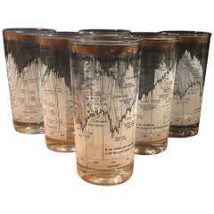 Set of Six Stock Market / Wall Street / Dow Jones / High Ball Glasses by Cera