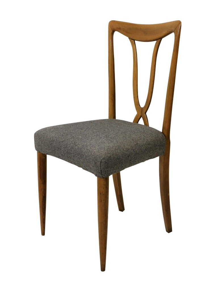 Mid-Century Modern Set of Six Stylish Italian Dining Chairs