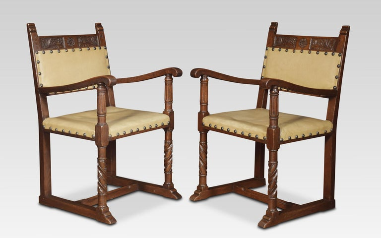 British Set of Six Substantial Oak Dining Chairs For Sale
