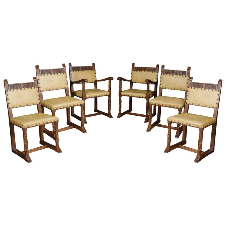 Set of Six Substantial Oak Dining Chairs For Sale