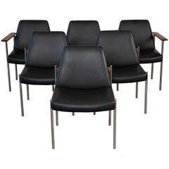 Set of Six Sven Ivar Dysthe Teak and Leather Dining Chairs
