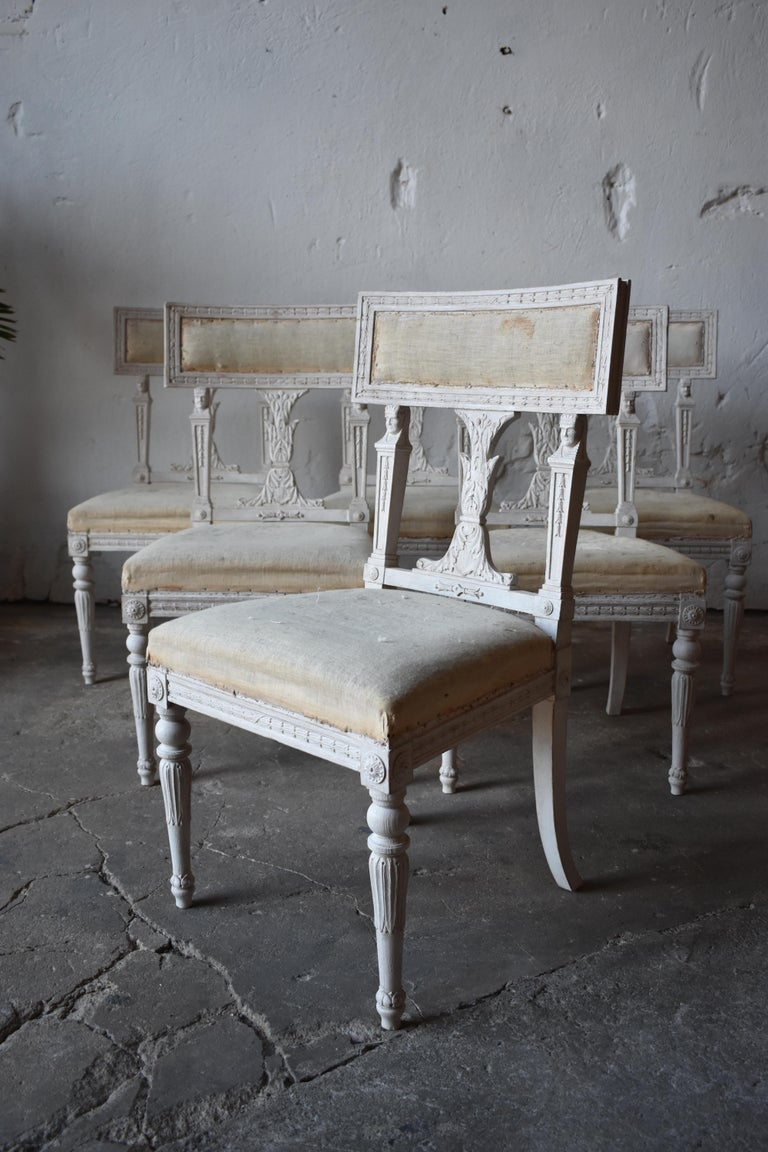 Hand-Carved Set of Six Swedish Chairs from the Gustavian Period 19th Century For Sale