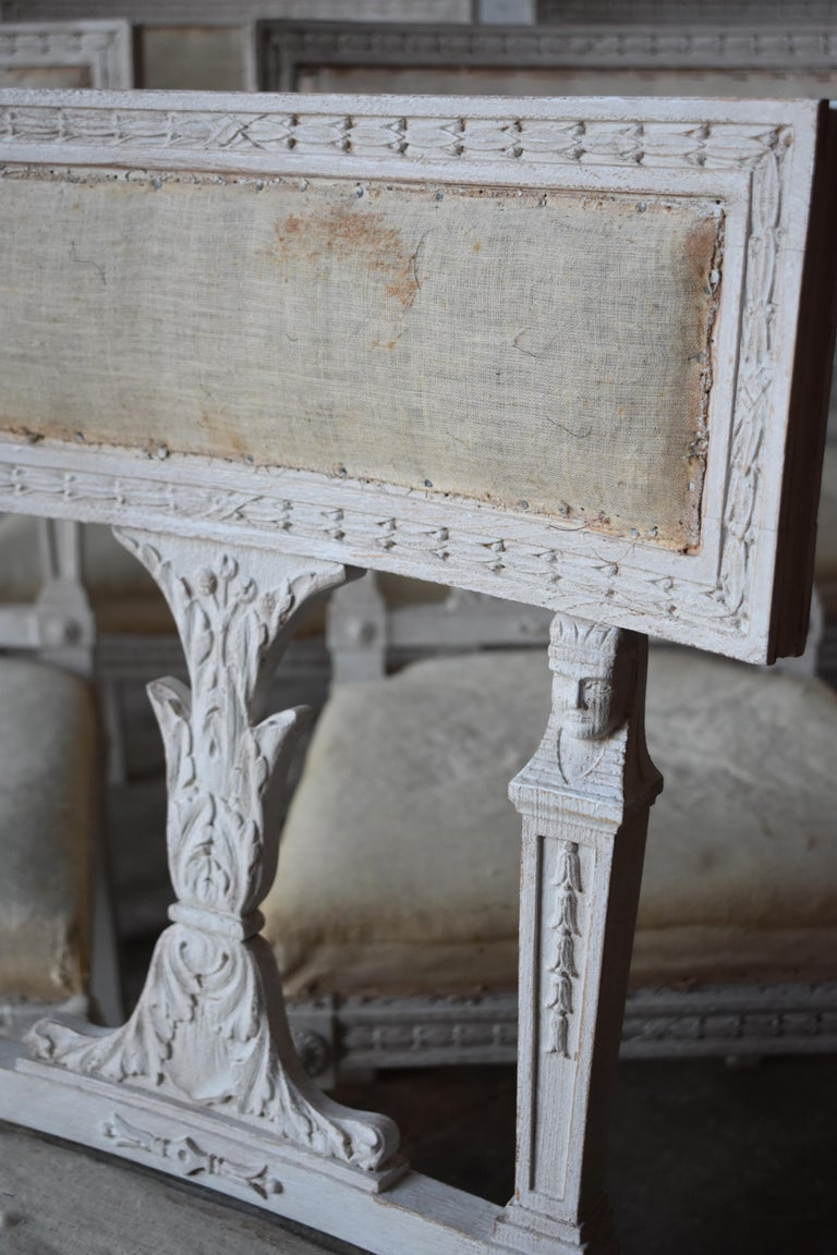 Upholstery Set of Six Swedish Chairs from the Gustavian Period 19th Century For Sale