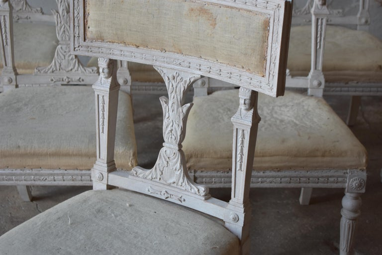 Set of Six Swedish Chairs from the Gustavian Period 19th Century For Sale 1
