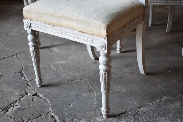 Set of Six Swedish Chairs from the Gustavian Period 19th Century For Sale 2