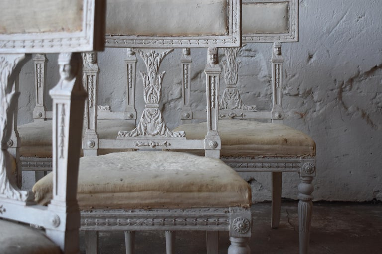 Set of Six Swedish Chairs from the Gustavian Period 19th Century For Sale 3