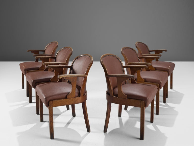 Set of Six Swedish Dining Chairs in Oak, 1940s In Good Condition For Sale In Waalwijk, NL