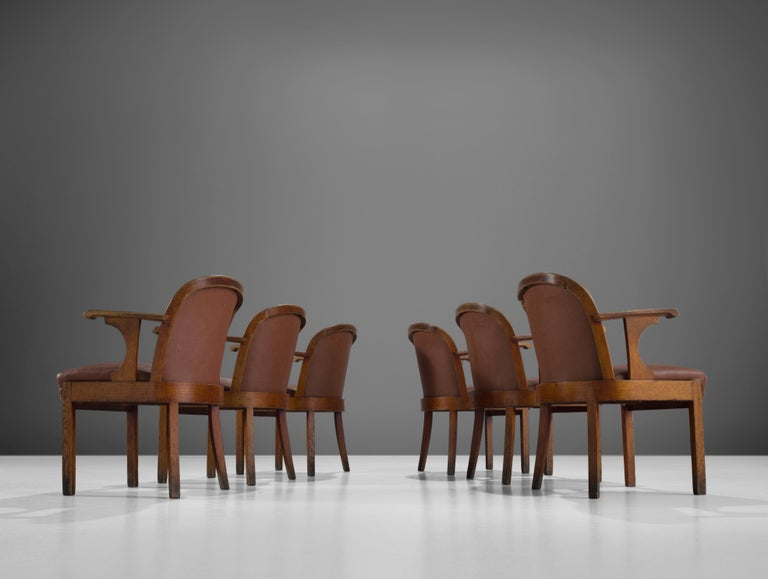 Faux Leather Set of Six Swedish Dining Chairs in Oak, 1940s For Sale