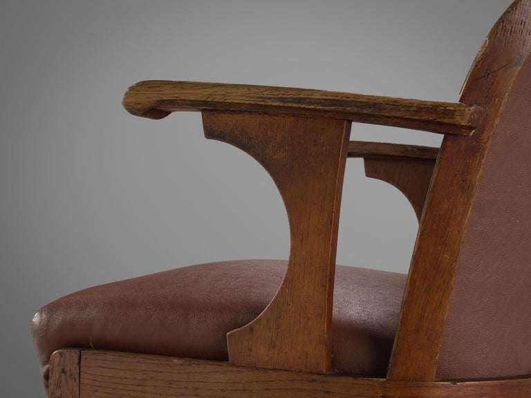 Set of Six Swedish Dining Chairs in Oak, 1940s For Sale 1