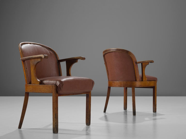 Set of Six Swedish Dining Chairs in Oak, 1940s For Sale 2