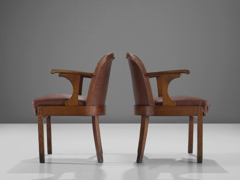 Set of Six Swedish Dining Chairs in Oak, 1940s For Sale 3