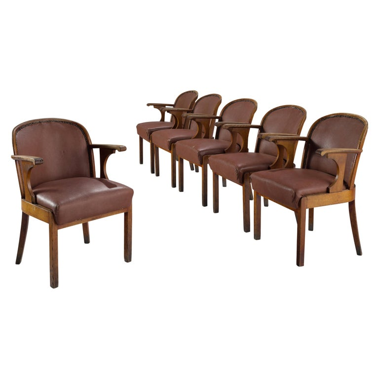 Set of Six Swedish Dining Chairs in Oak, 1940s For Sale