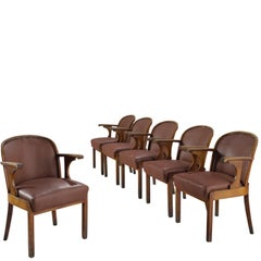 Set of Six Swedish Dining Chairs in Oak, 1940s