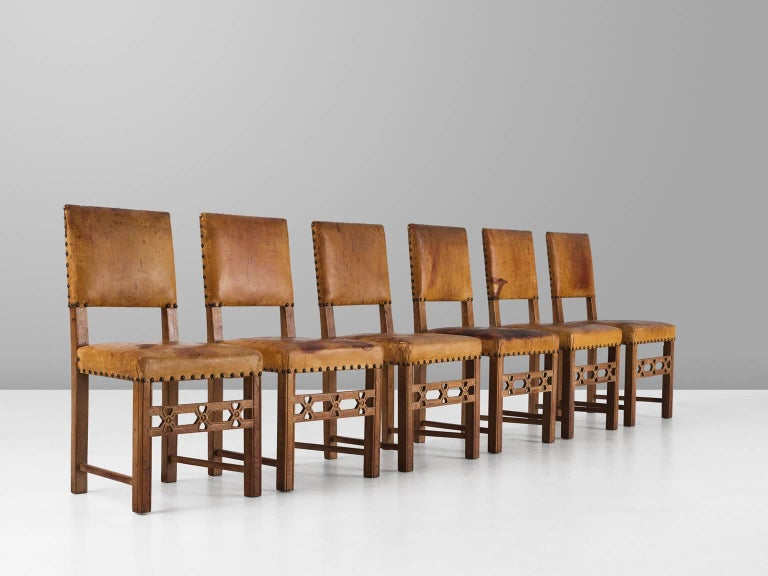 Art Deco Set of Six Swedish Dining Chairs in Oak and Patinated Cognac Leather For Sale