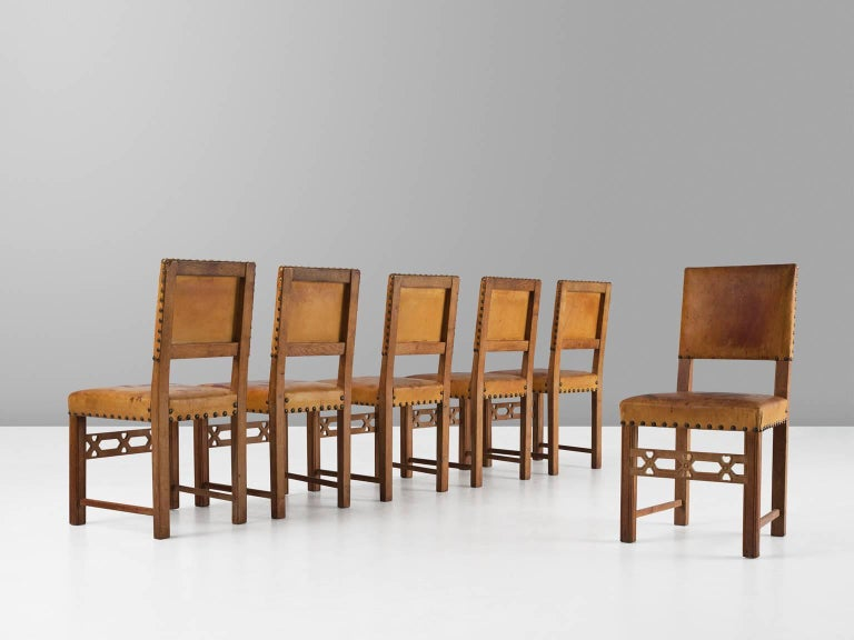 Set of Six Swedish Dining Chairs in Oak and Patinated Cognac Leather In Good Condition For Sale In Waalwijk, NL