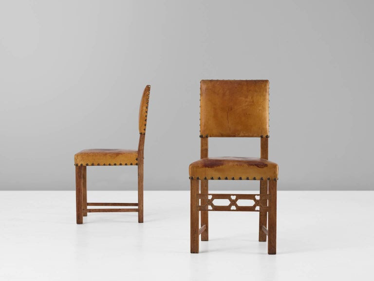Mid-20th Century Set of Six Swedish Dining Chairs in Oak and Patinated Cognac Leather For Sale