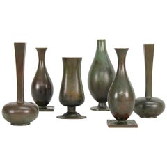 Set of Six Swedish Grace Patinated 1930s Bronze Vases