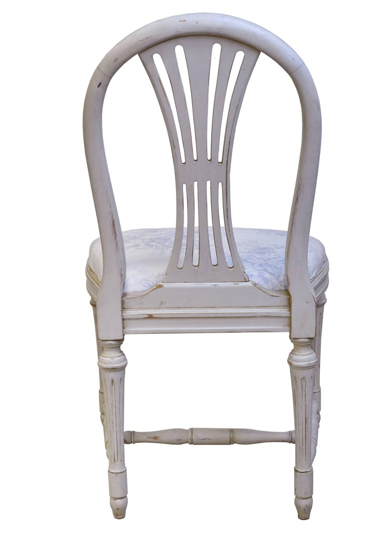 Set of Six Swedish Gustavian-Style Painted Dining Chairs,  c. 1890-1819 For Sale 7