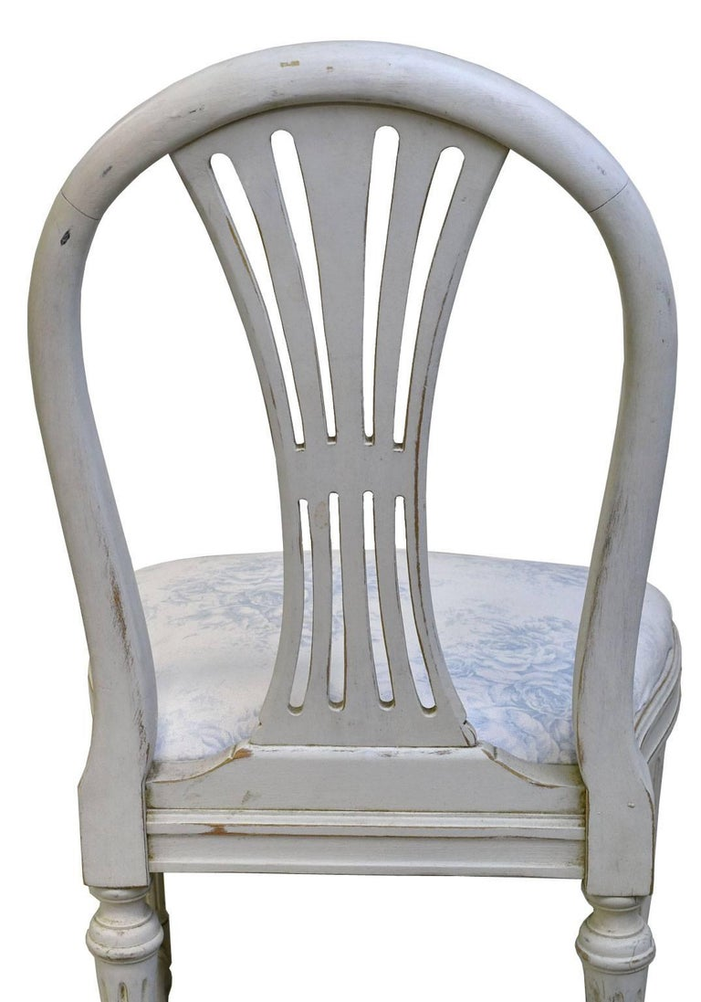 Set of Six Swedish Gustavian-Style Painted Dining Chairs,  c. 1890-1819 For Sale 8