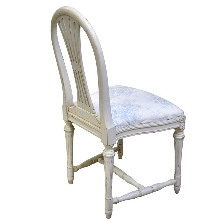 Set of Six Swedish Gustavian-Style Painted Dining Chairs,  c. 1890-1819 For Sale 9