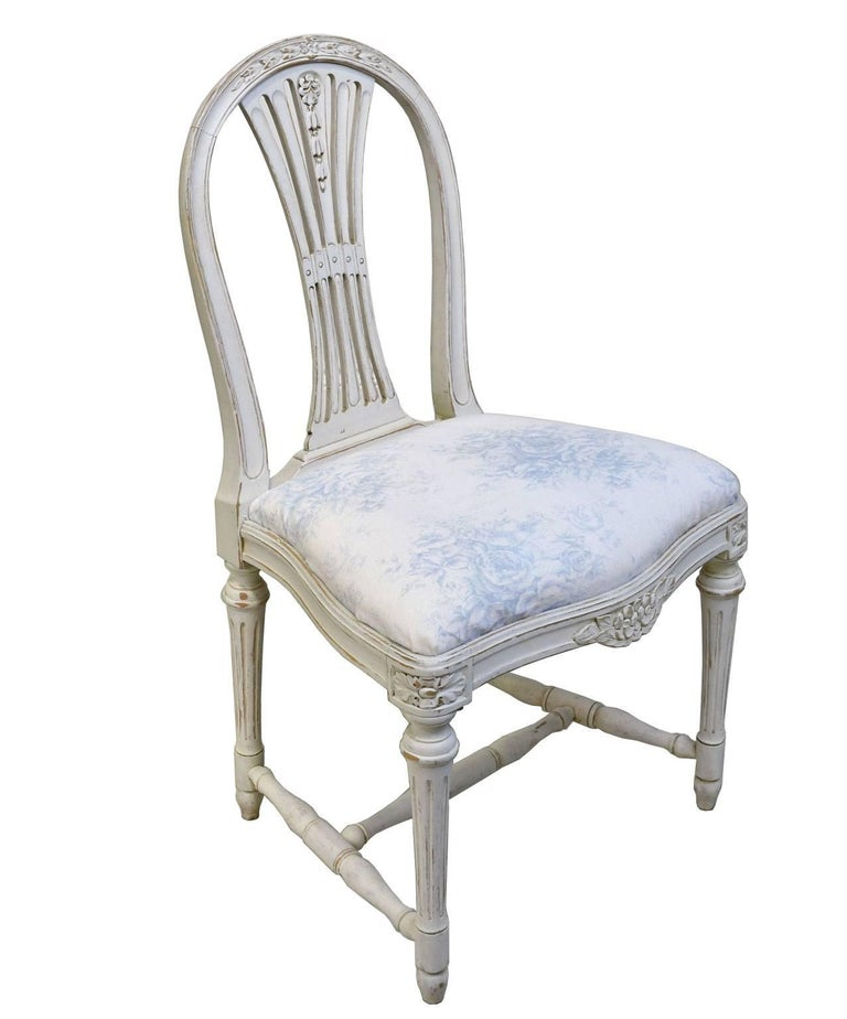 Set of Six Swedish Gustavian-Style Painted Dining Chairs,  c. 1890-1819 For Sale 11