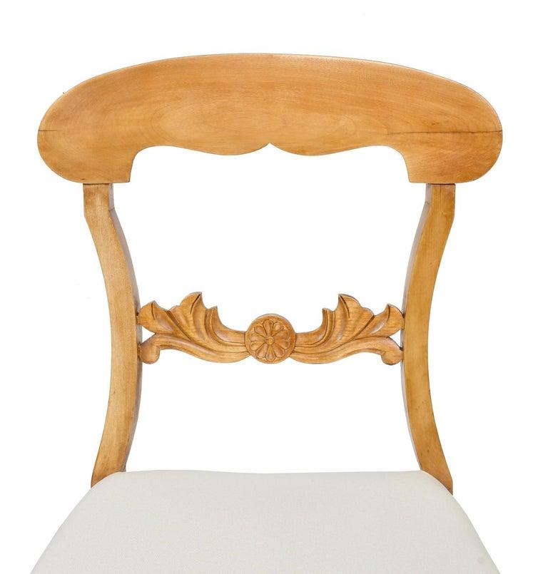 Set of Six Swedish Karl Johan Biedermeier Dining Chairs in Birch, circa 1825 For Sale 5