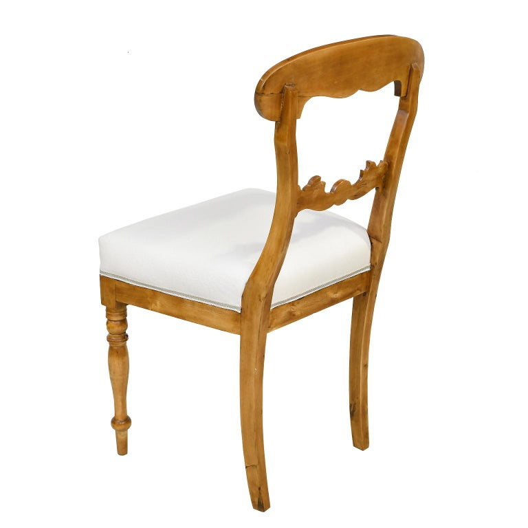 Fabric Set of Six Swedish Karl Johan Biedermeier Dining Chairs in Birch, circa 1825 For Sale