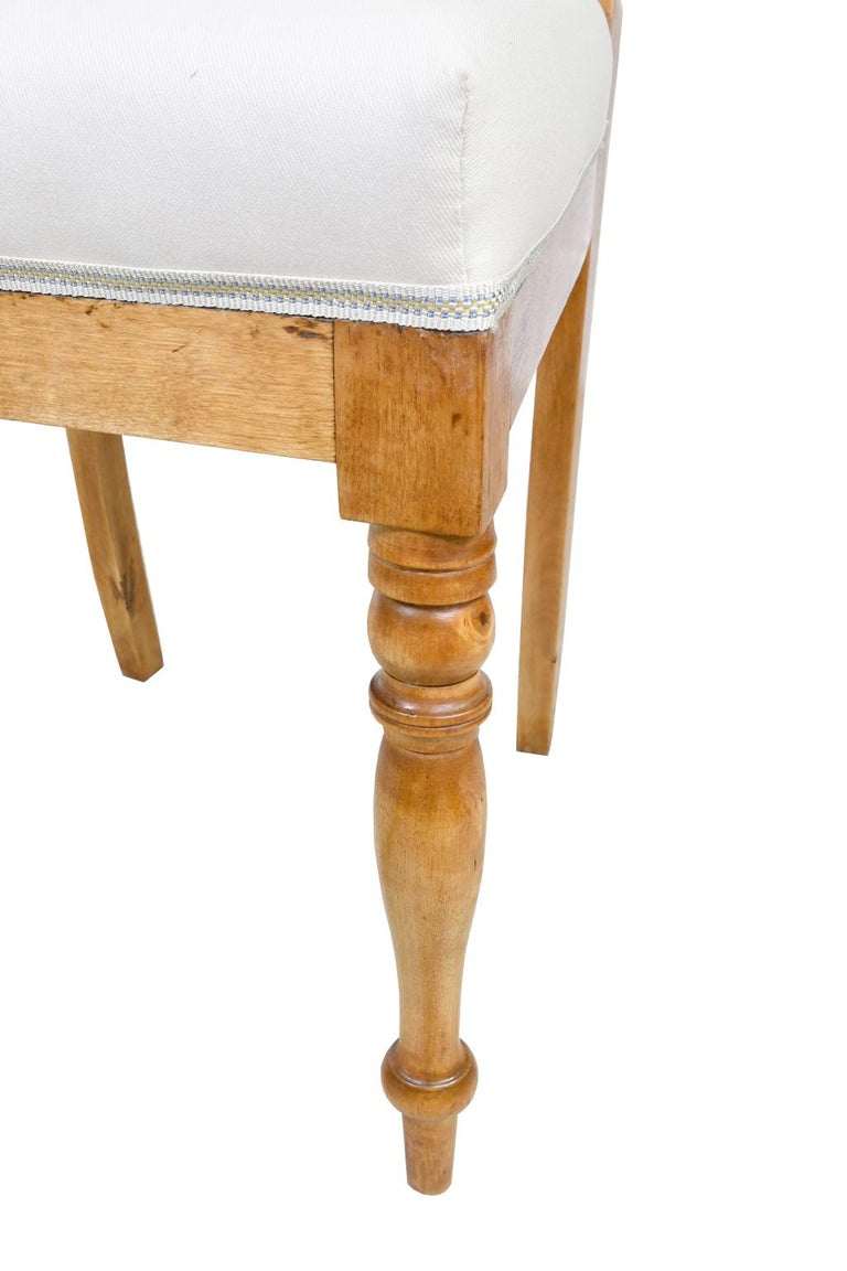 Set of Six Swedish Karl Johan Biedermeier Dining Chairs in Birch, circa 1825 For Sale 9