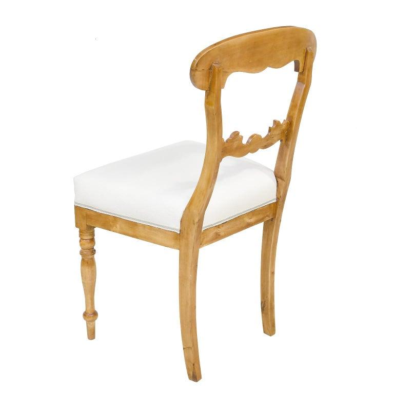 Fabric Set of Six Swedish Karl Johan Biedermeier Dining Chairs in Birch, circa 1825 For Sale