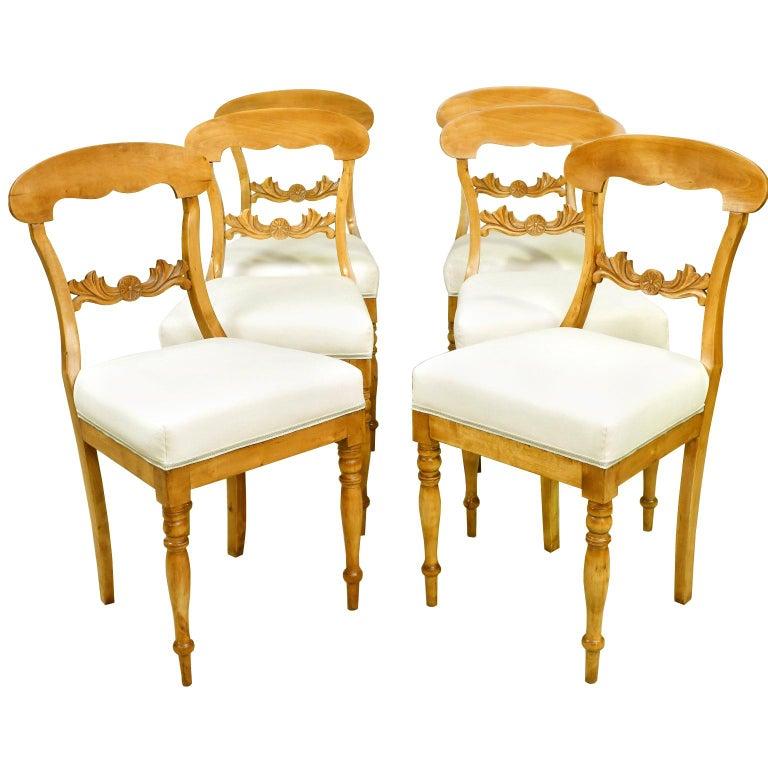 Set of Six Swedish Karl Johan Biedermeier Dining Chairs in Birch, circa 1825 For Sale